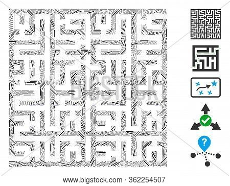 Line Mosaic Labyrinth Icon Designed From Straight Items In Variable Sizes And Color Hues. Vector Lin