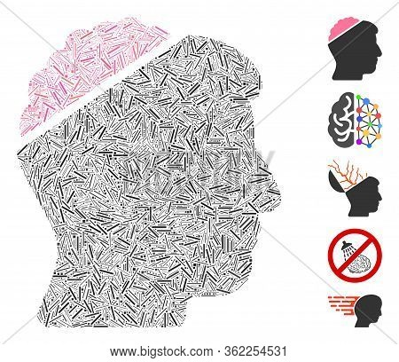 Line Mosaic Open Mind Icon Composed Of Thin Items In Different Sizes And Color Hues. Vector Line Ite