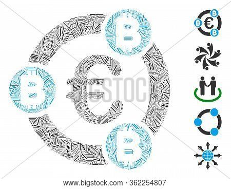 Line Mosaic Euro Bitcoin Collaboration Icon United From Narrow Items In Various Sizes And Color Hues