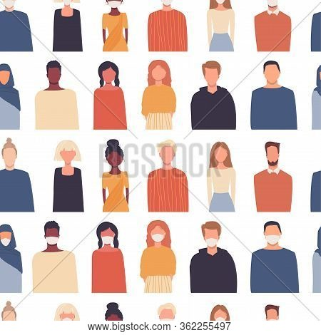 Vector Seamless Pattern In Flat Style. Modern Multicultural, Multiethnic Society. People Isolated On