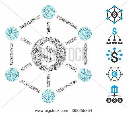 Hatch Mosaic Financial Radial Scheme Icon Composed Of Straight Items In Various Sizes And Color Hues
