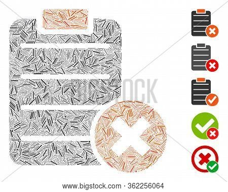 Linear Collage Reject Form Icon United From Thin Items In Various Sizes And Color Hues. Vector Linea