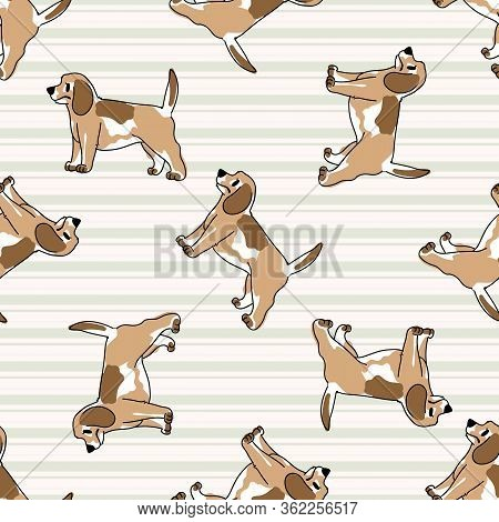 Cute Cartoon Puppy Dog Seamless Vector Pattern. Hand Drawn Pedigree Kennel Doggie Breed For Dog Love