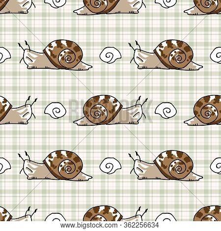 Cute Cartoon Slimy Snail With Shell Seamless Vector Pattern. Hand Drawn Slippery Slug For Yard Illus