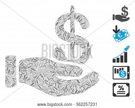 Hatch Collage Earnings Icon Constructed From Straight Items In Various Sizes And Color Hues. Vector