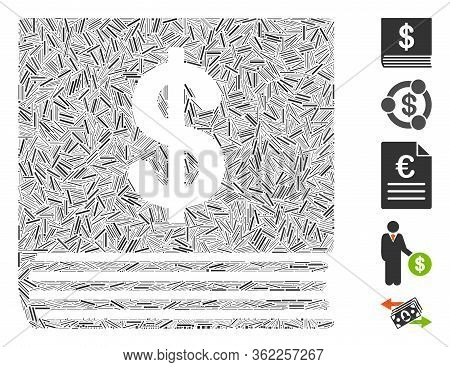 Hatch Collage Dollar Accounting Book Icon Constructed From Thin Elements In Various Sizes And Color