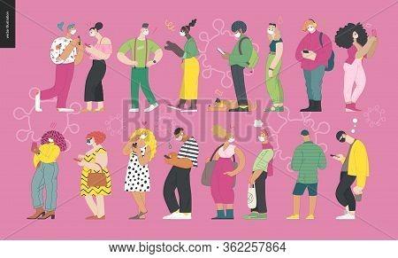 Waiting In Line Coronavirus - Modern Flat Vector Concept Illustration Of People Standing In Line Wea