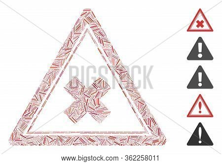 Linear Mosaic Reject Triangle Icon Organized From Narrow Elements In Different Sizes And Color Hues.