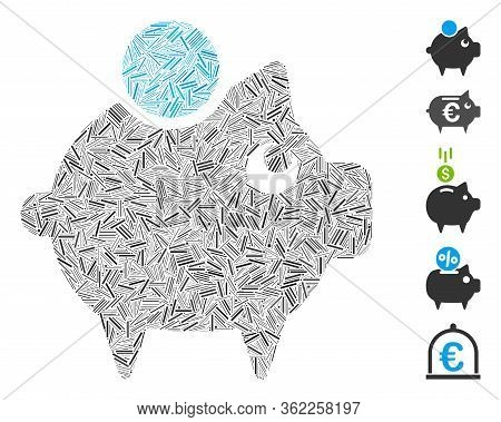Hatch Collage Piggy Bank Icon Organized From Narrow Items In Variable Sizes And Color Hues. Vector H