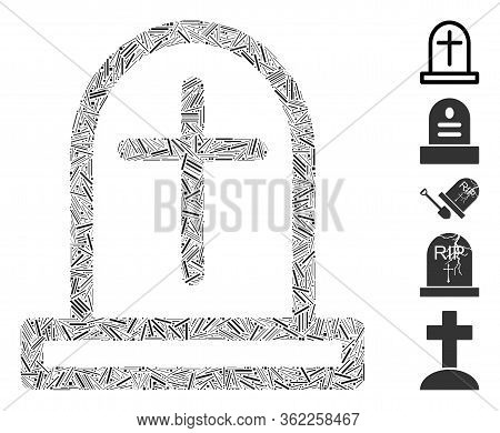 Linear Mosaic Tombstone Icon Organized From Narrow Items In Different Sizes And Color Hues. Vector L