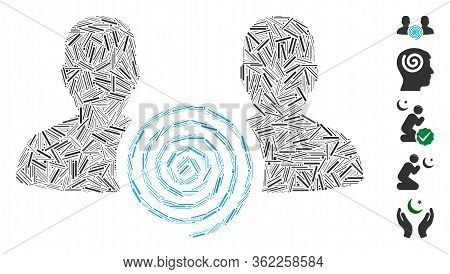 Line Collage Hypnosis Sect Icon United From Thin Items In Different Sizes And Color Hues. Vector Lin