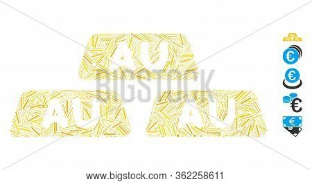 Line Mosaic Gold Bullions Icon Organized From Thin Elements In Random Sizes And Color Hues. Vector L