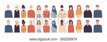 Set Of Vector Illustrations In Flat Style. Modern Multicultural, Multiethnic Society. European, Afri