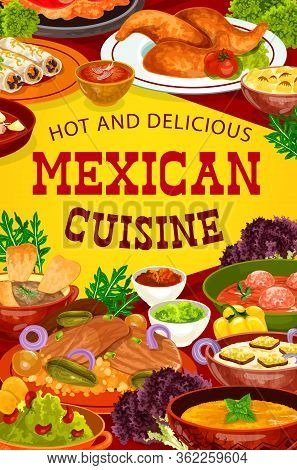 Mexican Cuisine Meat Dishes With Vegetables, Vector Food. Burritos, Guacamole And Chilli Salsa Sauce