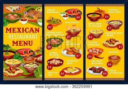 Mexican Restaurant Menu Vector Template With Vegetable, Meat And Fish Dishes. Beef Fajitas, Guacamol