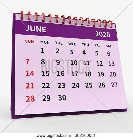 Standing Desk Calendar June 2020. Business Monthly Calendar With Red Spiral Bound, Week Starts On Su