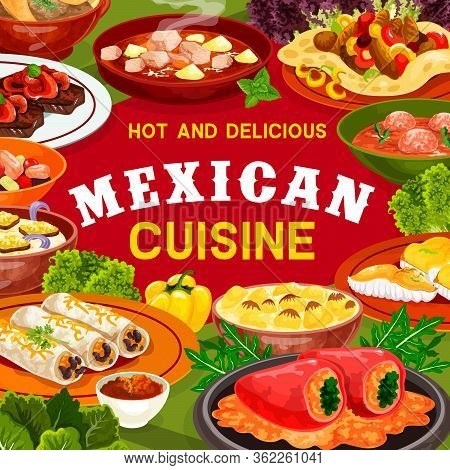 Mexican Cuisine Vegetable, Meat And Fish Dishes Vector Frame. Stuffed Peppers, Bean Burritos And Bee