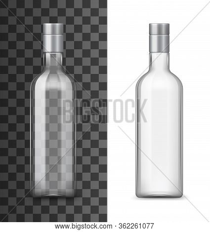 Empty Glass Bottle Of Alcohol Drink With Silver Lid 3d Vector Design. Clear Container Realistic Mock