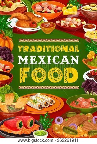 Mexican Cuisine Restaurant Dishes Of Meat And Vegetable Food. Estofado Stew, Stuffed Peppers And Chi