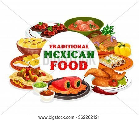 Mexican Cuisine Food Of Vegetable, Meat, Fish Restaurant Dishes. Vector Bean Burritos And Beef Fajit