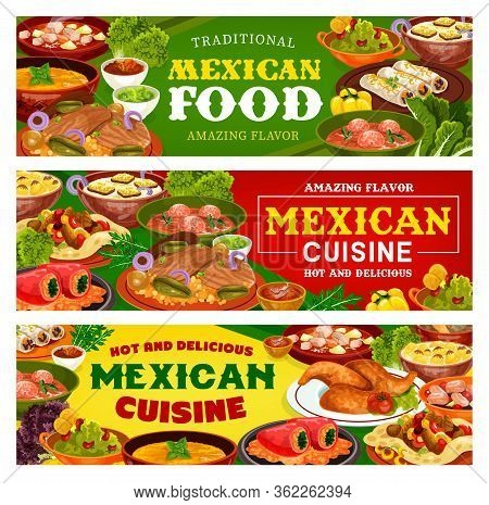 Mexican Food Vector Banners Of Meat Vegetable Burritos And Fajitas With Tomato Salsa And Avocado Gua
