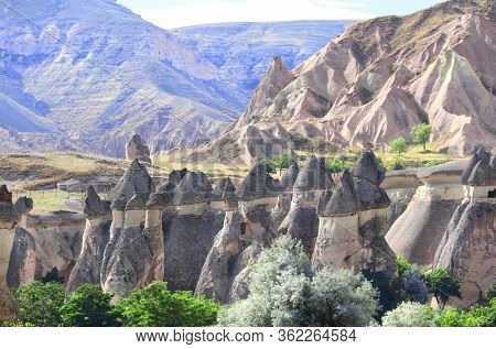 Fairy Chimney or Multihead stone mushrooms in Pasabag Valley, Cappadocia, Anatolia, Turkey