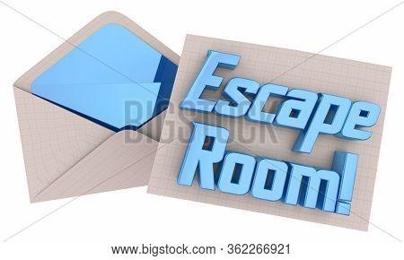 Escape Room Invitation Envelope Party Fun Experience Invited 3d Illustration