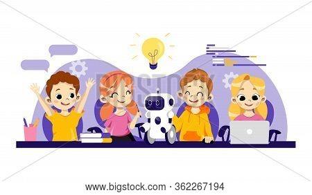 Robotics Courses For Children Concept. Robots Designing, Programming And Repairing, Smart Technologi