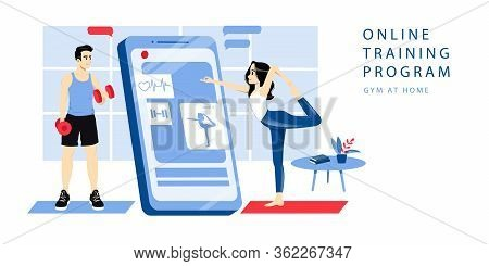Concept Of Online Personal Trainer. Website Landing Page. Woman Takes Online Training Course With Pe
