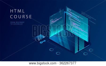 Isometric 3d Concept Of Html Course. Website Landing Page. Process Of Education Of Programming, Codi