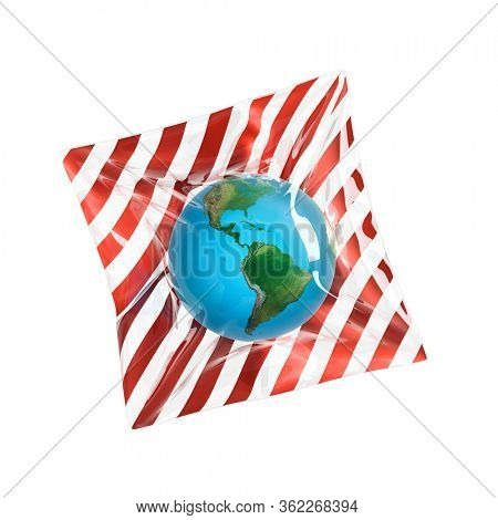 Illustration of global ecological problems - Earth globe packed in a transparent plastic bag, isolated on white background. 3D render.