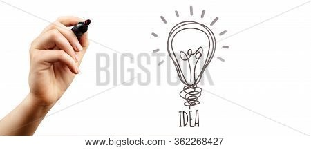 Marker In Hand With The Word Idea And Light Bulb Symbol. Concept Creation On The Stage Ideas And The