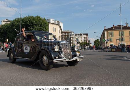 Brescia, Italy - May 19 2018: Lancia Aprilia 1500 1949 Is An Old Racing Car In Rally Mille Miglia 20