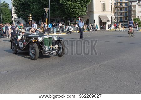 Brescia, Italy - May 19 2018: Mg Tb 1939 Is An Old Racing Car In Rally Mille Miglia 2018, Live Shot