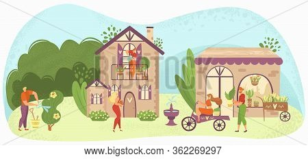 Garden Care People Gardening, Growing Plants And Flowers Near Houses, Gardeners Flat Vector Illustra