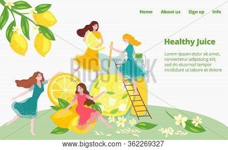 Healthy Juice Preparation, Fruit Diet Drink Cooking, Health Lifestyle, Girls Prepare Fresh Lemon Bev