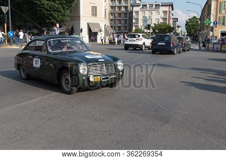 Brescia, Italy - May 19 2018: Fiat 1100 S Berlinetta Pinin Farina 1950 Is An Old Racing Car In Rally