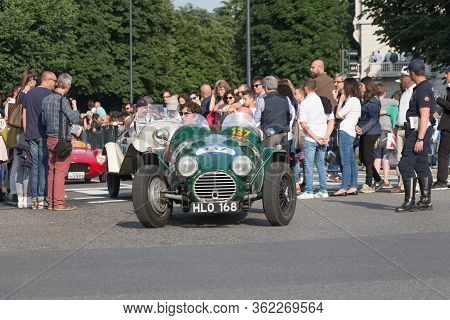 Brescia, Italy - May 19 2018: Hrg Le Mans Lightweight 1946 Is An Old Racing Car In Rally Mille Migli