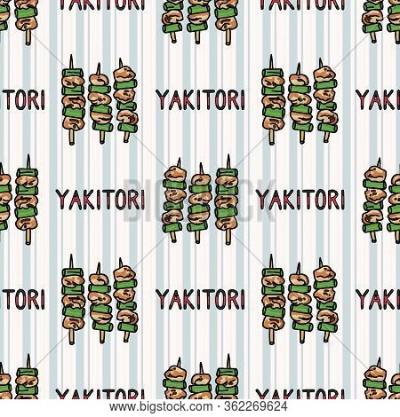 Kawaii Yakitori Japanese Meal Seamless Vector Pattern. Hand Drawn Oriental Barbecue Dinner. Cute Fre