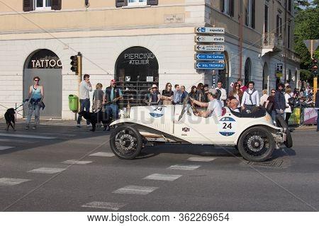 Brescia, Italy - May 19 2018: Bugatti T 23 Brescia 1925 Is An Old Racing Car In Rally Mille Miglia 2