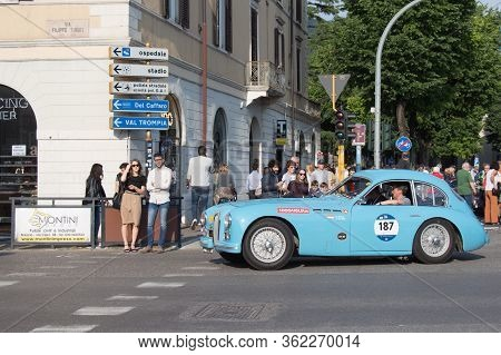 Brescia, Italy - May 19 2018: Talbot -lago T 26 Gs Berlinette 1950 Is An Old Racing Car In Rally Mil
