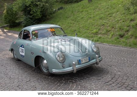 Brescia, Italy - May 19 2018: Porsche 356 1500 Super 1952 Is An Old Racing Car In Rally Mille Miglia