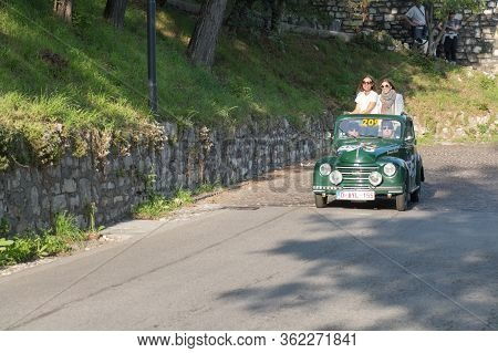 Brescia, Italy - May 19 2018: Fiat 500 C Topolino 1951 Is An Old Racing Car In Rally Mille Miglia 20