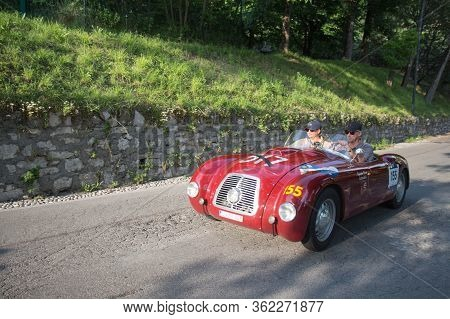 Brescia, Italy - May 19 2018: Ermini Fiat 1100 Sport 1948 Is An Old Racing Car In Rally Mille Miglia