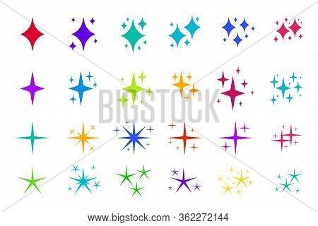 Colorful Flat Sparkles Icons Set. Graphic Element Confetti, Original Elegant Glowing Light Effect. S