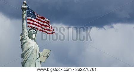 Statue Of Liberty New York Covid-19, Coronavirus Concept, Liberty Monument With Medical Surgical Mas