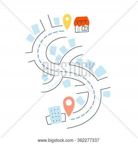 Delivery From Shop, Cafe To Apartment, Vector Hand Drawn Doodle Illustration Of Street, City Map Nav