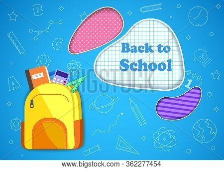 Back to school banner, vector banner set of schoolbags, back to school concept. Back to school sale banner.Colorful back to school templates for invitation, poster, banner, promotion, sale etc. School supplies cartoon illustration.
