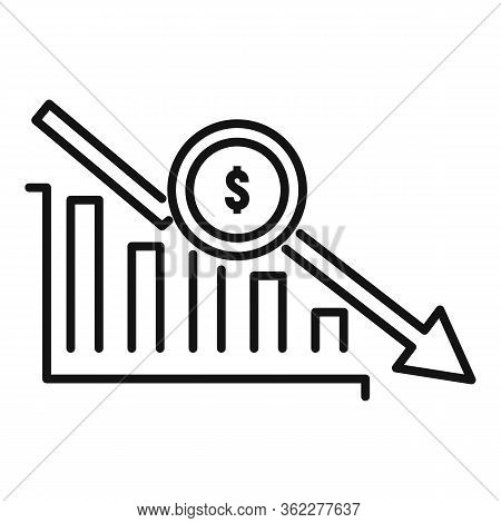 Bankrupt Chart Icon. Outline Bankrupt Chart Vector Icon For Web Design Isolated On White Background