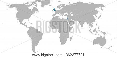 Jordan, United Kingdom Countries Highlighted On World Map. Light Gray Background. Business Concepts,